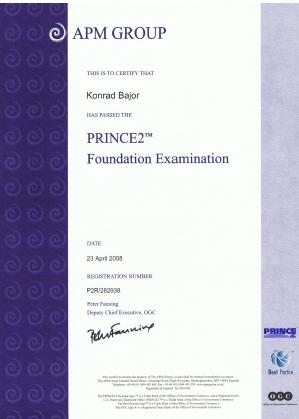 Certyfikat wdrożenia projektu